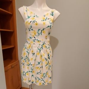Zara Basic Yellow and Green Floral Dress